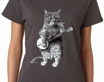 cat - cat shirt - cat tshirt - cat gifts - cat lover gift - cat lady - cat lover - womens tshirts - banjo shirt - BANJO CAT - crew neck