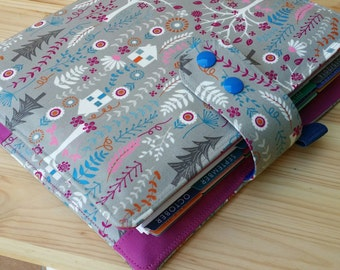 Planner cover  Trees whimsical  17 pocket  ECLP and PPP planner accessory  Adjustable snap closer