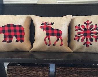 Buffalo Check Moose, Bear or Snowflake Burlap Pillow Cover Throw Pillow