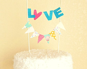 Love Cake Topper Banner, Wedding Cake Bunting Topper, Carnival Theme Party, Rainbow Bridal Shower Decor, Colorful Garland Flags, Baby Shower