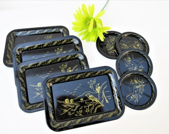 Vintage Tin Trays | Snack Plates | Metal Coasters | Barware | Tip Trays | Black Gold | Nut Plates | Appetizer Plates – Set of 8
