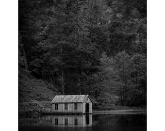 The Boat House Fine Art Photography Black and White Scottish Landscape Scotland Reflections Peaceful Lake Loch Forrest Fishing Large Art