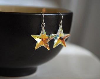 Swarovski Kristall Stern Ohrringe--Silber, Crystal Star Ohrringe, AB Swarovski Kristall Stern Ohrringe