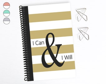 Motivational Notebook, I Can And I Will, Inspirational Diary For Women, Bullet Journal, Half Letter Planner, Wife, Girlfriend, Sister, Mom
