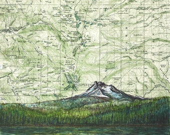 Mt Jefferson from Olallie Lake art, Mount Jefferson painting print Mountain illustration, Oregon mountain print, mountain art map art