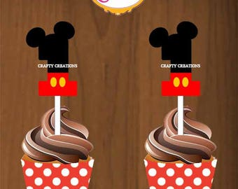 RED Mickey Mouse Cupcake topper and wrapper Aged 1 - Mickey Birthday Decor - Mickey Mouse Party-Digital -INSTANT DOWNLOAD-CraftyCreationsUAE