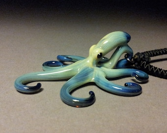 Art Glass Octopus Pendant hand blown Black Pearl Octopus  Necklace