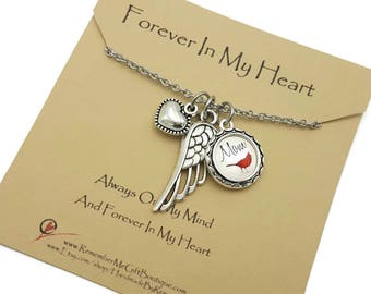 Bereavement Gift, In Loving Memory, Cardinal Appears, Angels Are Near, Personalized Memorial Necklace with Angel Wing Forever In My Heart