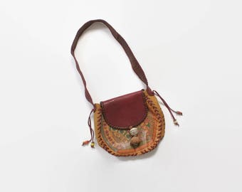 Vintage 70s CHAR Boho PURSE / 1970s Custom Made Hand Painted Leather Hippie Shoulder Bag