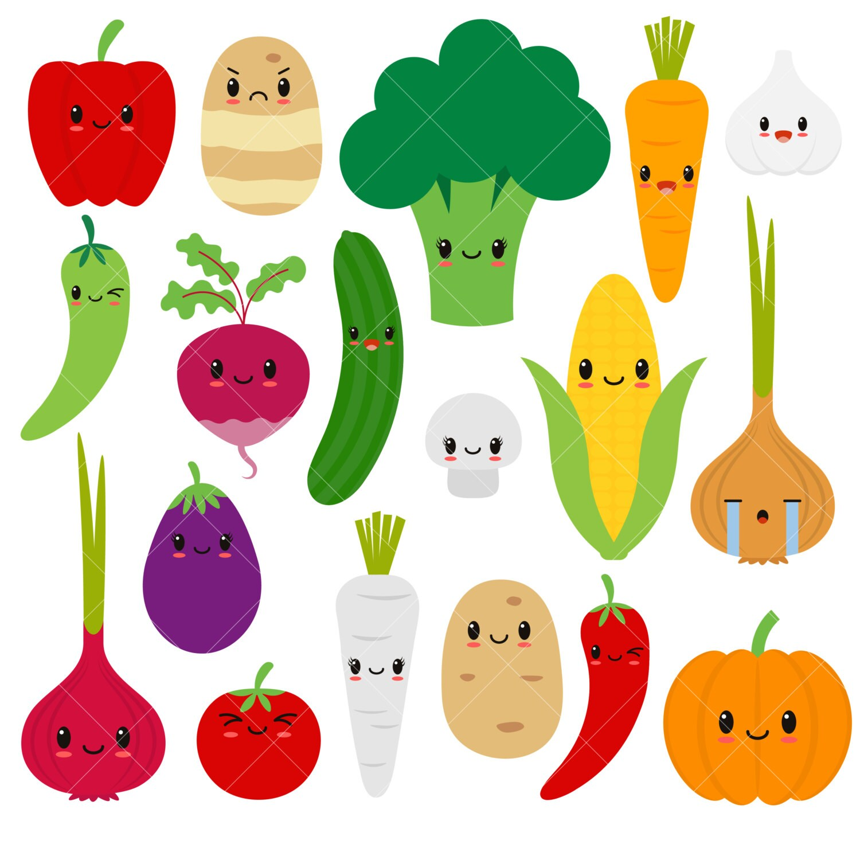kawaii vegetables cute vegetable clipart happy veggies rh etsy com