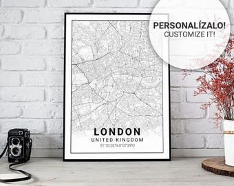 Poster map of London (United Kingdom) 30, 40 and 50. Custom text. Ideal sheet for decoration or as a gift.