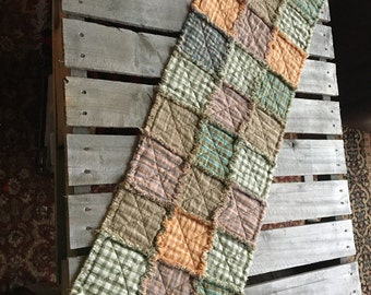 No. 54 Pastel Homespun Rag Tablerunner