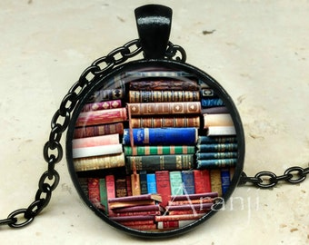 Book art pendant, book necklace, book jewelry, books, library necklace, library pendant, bookshelf necklace, Pendant #HG152BK