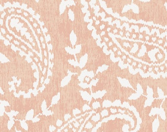 Peach Paisley Organic Fabric - By The Yard - Girl / Modern
