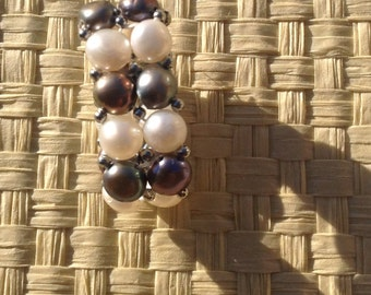2 Strand Of Black And White Fresh Water Pearl Stretchy Ring Or Elastic Ring..Beautiful Fresh Water Pearls Ring..Fits Any Size Finger!!