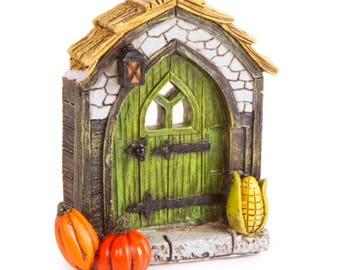 "Mini Fall Fairy Door Figurine, 3 3/4"" tall"