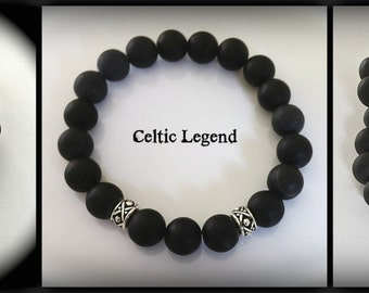 Matte Black Onyx Bracelet Outlander Inspired Mens Wedding Groomsmen Gift, Celtic Pearl Legend Series JAMMF