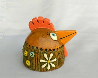 Embossed Ceramic chicken head figure bibelot, decorative