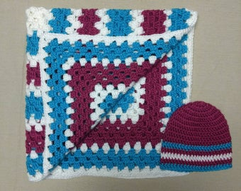 Crochet Baby Blanket With Hat 0-3 Months