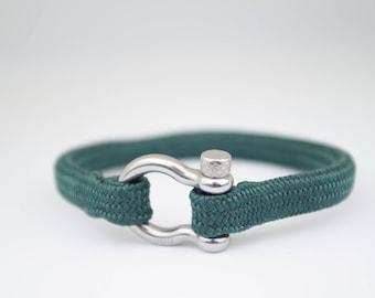 DARK GREEN & silver | Sailing bracelet - Custom and Handmade