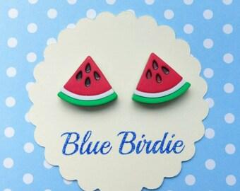 Watermelon earrings watermelon jewellery watermelon jewelry watermelon stud earrings fruit jewellery summer earrings
