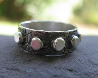 dark oxidized recycled sterling silver ring . READY TO SHIP in size 8 1/2 . (( Chaos )) . reduced price . unique silversmith ring