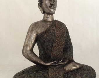 Sitting Buddha Statue - Asian Silver Meditating Zen Hindu Sculpture - Great Gift