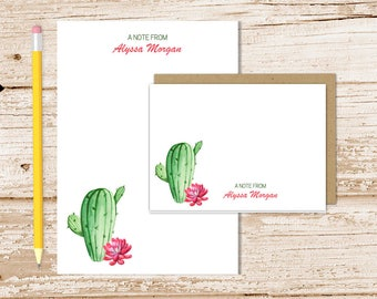 personalized stationery set . cactus notepad + note card set . succulents notecards stationary set . watercolor gift set
