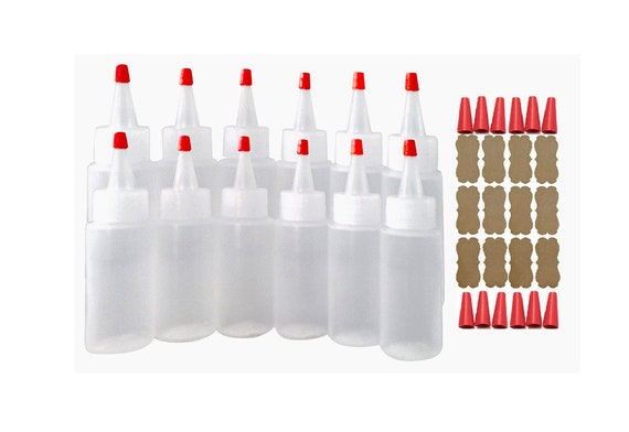 2oz Plastic Squeeze Bottles Yorker Caps for Cake Decorating Paint Crafts Condiments -Replacement Long Over-Cap Tips & Kraft Label Bonus
