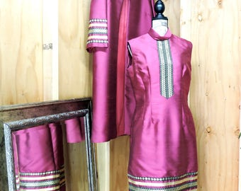 Vintage dress and coat suit / L 14 / 16 / 1960s dupioni silk dress and opera coat / Haute Couture dress / coat / 60s evening dress suit