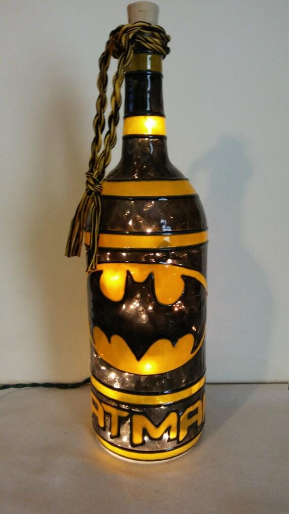 Bat Man Inspired Wine Bottle Lamp