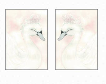 Swan prints SALE a4, swan  prints, girls room print, baby girl nursery print, swan art, swan print, swan picture