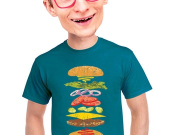 hamburger t-shirt for men, geeky graphic tee, gift for foodies, fast food lovers, meat lovers, cheeseburger, food gift, for chef, beef, s-4x