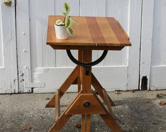 Art.... Vintage Industrial Saxon Wooden and Cast Iron Drafting Table, Adjustable, Artist Drawling Board, Work Station