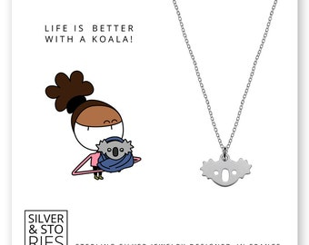Koala 925 Sterling Silver thin minimalist charm necklace with box