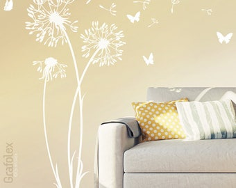 Wall sticker Dandelion Wall Decal vinyl decor w302s Butterfly Flower