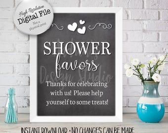 Baby Shower Favors Sign, Baby Shower Printables, Baby Shower Decor, Chalkboard Style, 8x10/16x20, Instant Download, Digital Files