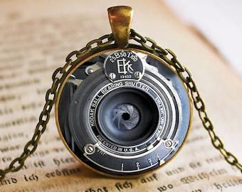 EK Vintage IMAGE of Camera Lens Pendant/Necklace Jewelry, NOT actual camera lens, Fine Art Necklace Jewelry, Camera Lens Photo Jewelry Glass