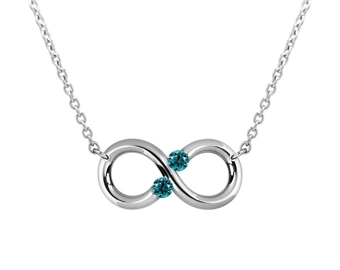 Taormina Infinity Necklace Blue Topaz Tension Set Steel Stainless