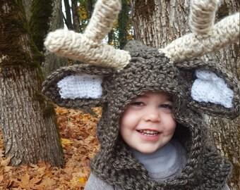 Reindeer Hood: Deer Costume, Toddler Costume, Hooded Scarf, Cowl, Hood Costume, Montessori, Confidence Hoods, Character, Social Skills