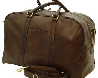 Leather Travel Bag in Dark Brown made of Genuine Italian Leather - Leather Bag - Laptop Bag - Leather Briefcase - Mens Gift