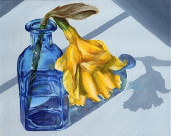 Original Acrylic Painting, Still Life Painting on Canvas, Yellow Flower in Blue Bottle