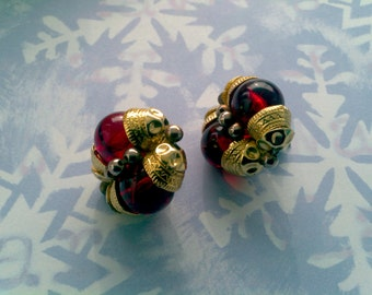 Big Beaded Beauties-Red and Gold Bead Pierced Earrings