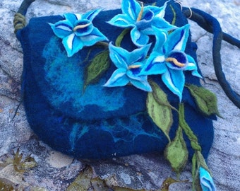Big Flowers.3D. Felted Bag.Blue.Turquoise.Boho.Felt Handbags.Art Bag.Hippie.Flower BagFlowers Unique. Fantasy Felted Bag.