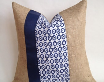 Braemore Paloma Fabric & Burlap Pillow Cover