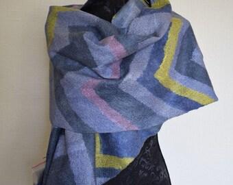READY to ship Nuno Felted wrap Felted shawl Wool scarf Wool wrap Pashmina boho chic nuno Felt shawl soft wool shawl Felted shawl Unique gift