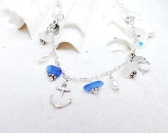 Sea Glass Bracelet, Sterling Seaglass, Lake Erie Jewelry, Seaglass, Beachglass, Beach Gift, Seaglass Etsy, Sea Glass, Gift For Mom