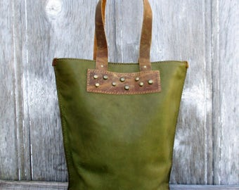 Leather Bucket Bag in Rustic Modern Style with Dome Studs, Gift for Her, Handmade Purse, Olive Green, Army, Tote Bag, Avocado, Stacy Leigh