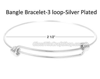 100pk Silver Plated Bangle, 2.5 Inch, Double Bar, Triple Loops, Charm Bracelet, Expandable Bracelet, Wire Bangle, Blank Bangle- BBSP2.5IN