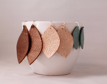 Genuine Leather Leaf Drop Earrings - Choose from several colors